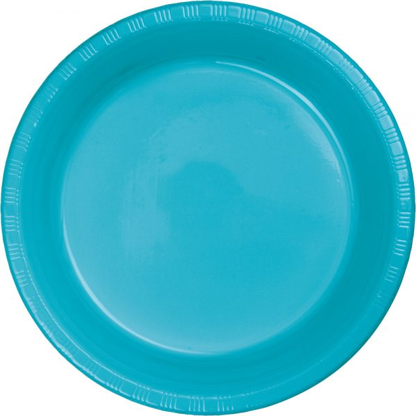 "Bermuda Blue Plastic Dinner Plates 10.25"" 240 Ct"