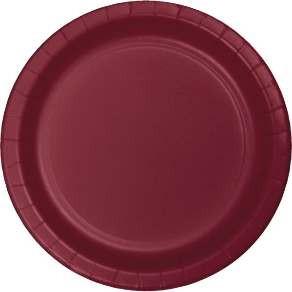 "Burgundy Paper Lunch Plates 9"" 240 Ct"