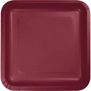 "Burgundy Paper Dessert Plates 7"" Square 180 Ct"