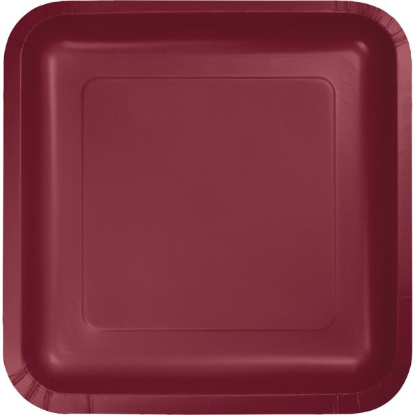 "Burgundy Paper Lunch Plates 9"" Square 180 Ct"
