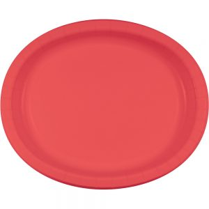 "Coral Paper Oval Platter 10"" X 12"" 96 Ct"