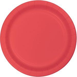 "Coral Plastic Dessert Plates 7"" 240 Ct"
