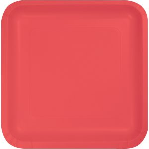 "Coral Paper Lunch Plates 9"" Square 180 Ct"