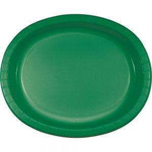 "Emerald Green Paper Oval Platter 10"" X 12"" 96 Ct"