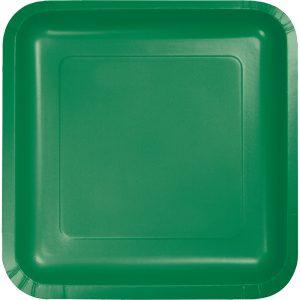 """Emerald Green Paper Dessert Plates 7"""" Square 180 Ct"""