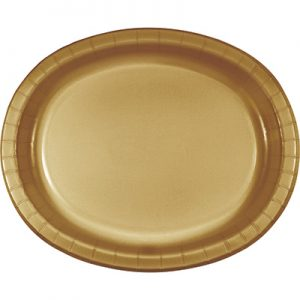 "Glittering Gold Paper Oval Platter 10"" X 12"" 96 Ct"