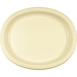 """Ivory Paper Oval Platter 10"""" X 12"""" 96 Ct"""