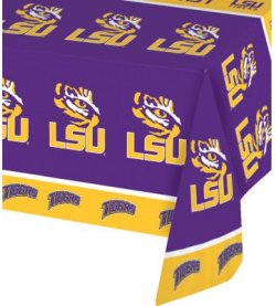 LSU Plastic Tablecover 12 Ct