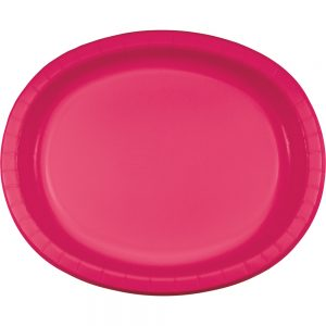 "Hot Magenta Paper Oval Platter 10"" X 12"" 96 Ct"