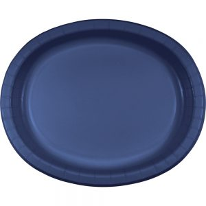 "Navy Paper Oval Platter 10"" X 12"" 96 Ct"