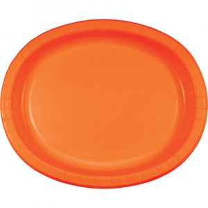 "Sunkissed Orange Paper Oval Platter 10"" X 12"" 96 Ct"