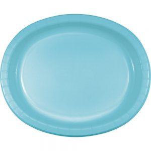 "Pastel Blue Paper Oval Platter 10"" X 12""  96 Ct"