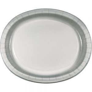 "Shimmering Silver Paper Oval Platter 10"" X 12"" 96 Ct"