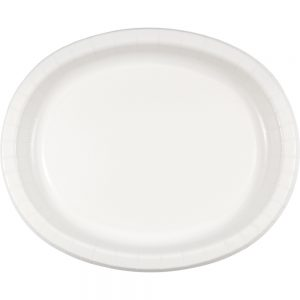 """White Paper Oval Platter 10"""" X 12"""" 96 Ct"""