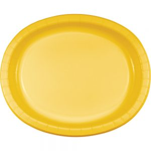 "School Bus Yellow Paper Oval Platter 10"" X 12"" 96 Ct"