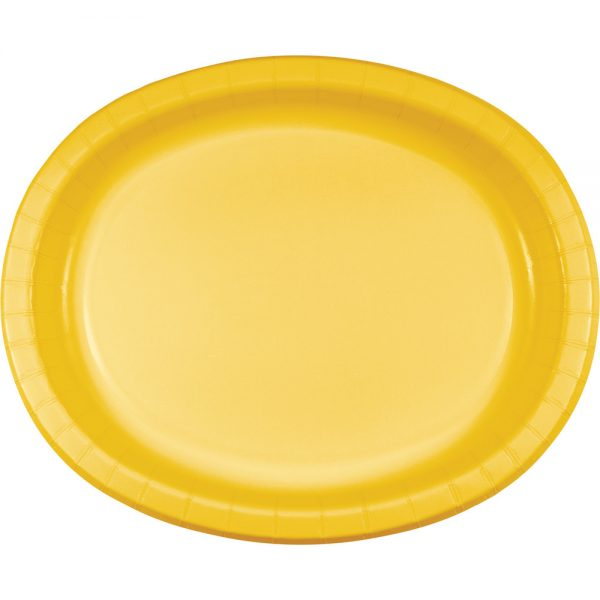 "School Bus Yellow Paper Oval Platter 10"" X 12"" 96 Ct"