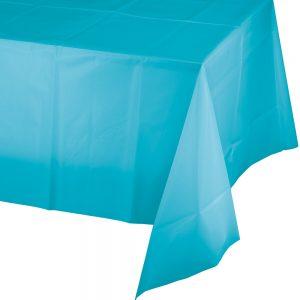 "Bermuda Blue Plastic Rectangular Tablecovers 54"" X 108"" 12 Ct"