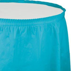 """Bermuda Blue Plastic Tableskirts, 14' X 29"""" 6 Ct"""