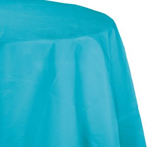 "Bermuda Blue Plastic Tablecovers, Octy Round 82"" 12 Ct"