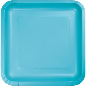"Bermuda Blue Paper Lunch Plates 9"" Square 180 Ct"