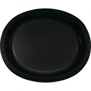 """Black Velvet Paper Oval Platter 10"""" X 12"""" 96 Ct"""