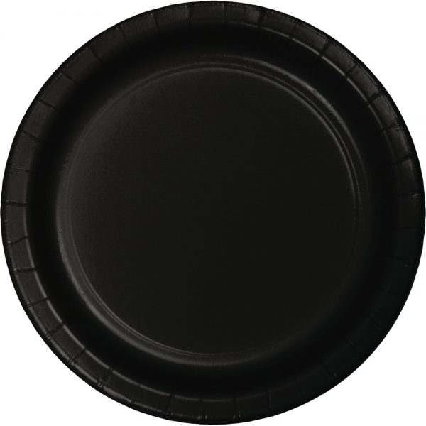 """Black Velvet Paper Dessert Plates 7"""" 900 Ct"""