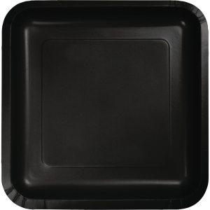 """Black Velvet Paper Dessert Plates 7"""" Square 180 Ct"""