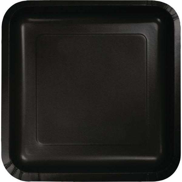 """Black Velvet Paper Lunch Plates 9"""" Square 180 Ct"""