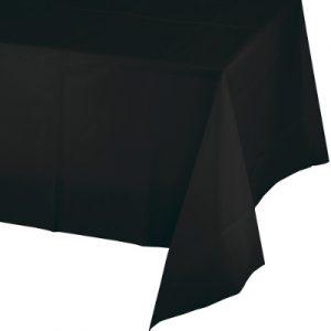"""Black Velvet Plastic Rectangular Tablecover 54"""" X 108"""" 12 Ct"""