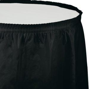 """Black Velvet Plastic Tableskirts, 14' X 29"""" 6 Ct"""