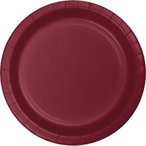 "Burgundy Plastic Lunch Plates 9"" 240 Ct"