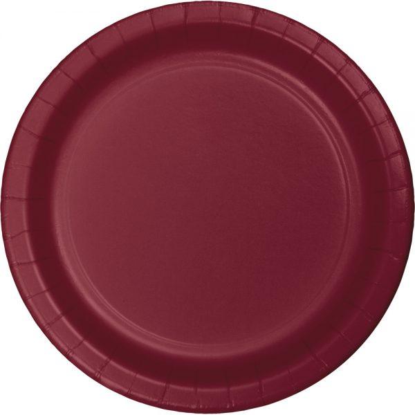 "Burgundy Plastic Lunch Plates 9"" 240 Ct"