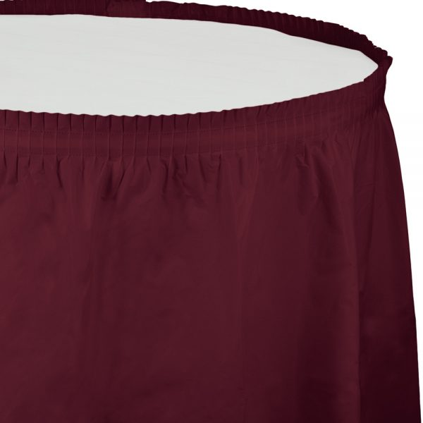 "Burgundy Plastic Tableskirts, 14' X 29"" 6 Ct"