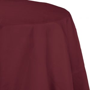 "Burgundy Plastic Tablecovers, Octy Round 82"" 12 Ct"