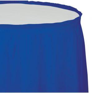 "Cobalt Plastic Tableskirts, 14' X 29"" 6 Ct"