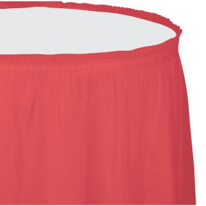 """Coral Plastic Tableskirts, 14' X 29"""" 6 Ct"""