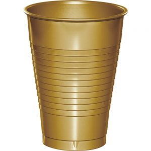 Glittering Gold Plastic Cups 12 Oz. 240 Ct