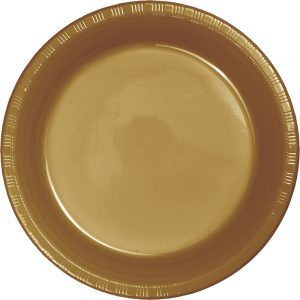 "Glittering Gold Plastic Dinner Plates 10.25"" 240 Ct"