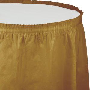 """Glittering Gold Plastic Tableskirts, 14' X 29"""" 6 Ct"""