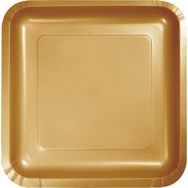 """Glittering Gold Paper Lunch Plates 9"""" 240 Ct"""