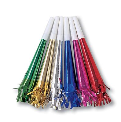 Foil Party Horns with Fringe, Asst Colors 96ct
