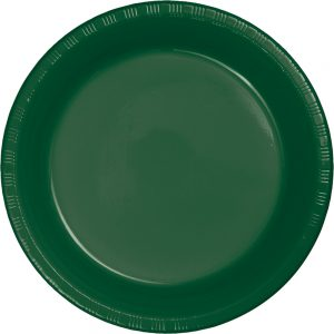 "Hunter Green Plastic Dessert Plates 7"" 240 Ct"