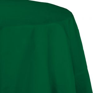 "Hunter Green Plastic Tablecovers, Octy Round 82"" 12 Ct"