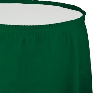 """Hunter Green Plastic Tableskirts, 14' X 29"""" 6 Ct"""