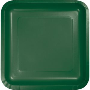 "Hunter Green Paper Dessert Plates 7"" Square 180 Ct"
