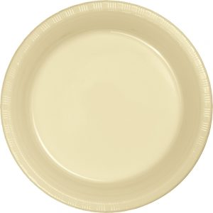 "Ivory Plastic Dinner Plates 10.25"" 240 Ct"