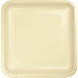 "Ivory Paper Lunch Plates 9"" Square 180 Ct"