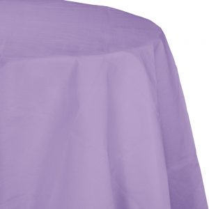 """Luscious Lavender Plastic Tablecovers, Octy Round 82"""" 12 Ct"""