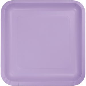 "Luscious Lavender Paper Lunch Plates 9"" Square 180 Ct"