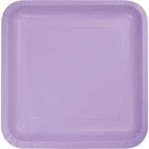 """Luscious Lavender Paper Dessert Plates 7"""" Square 180 Ct"""
